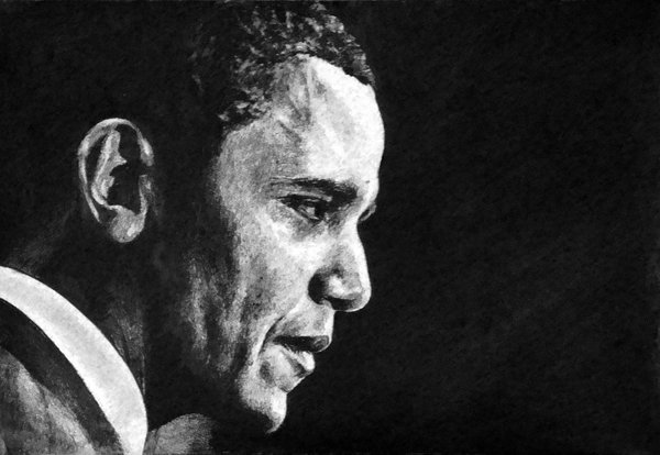 pencil drawing of President Obama