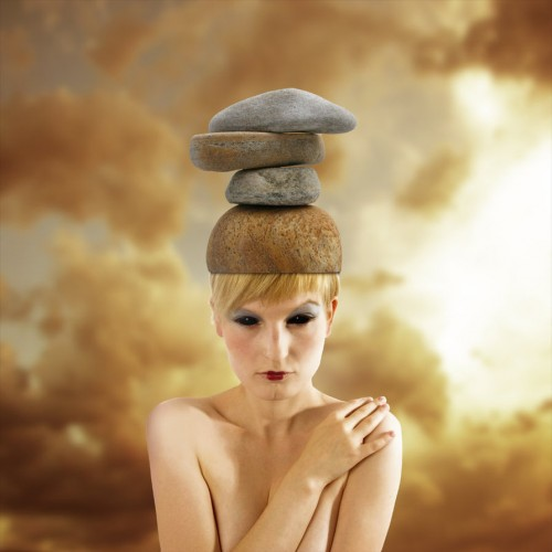 woman wearing stone cap