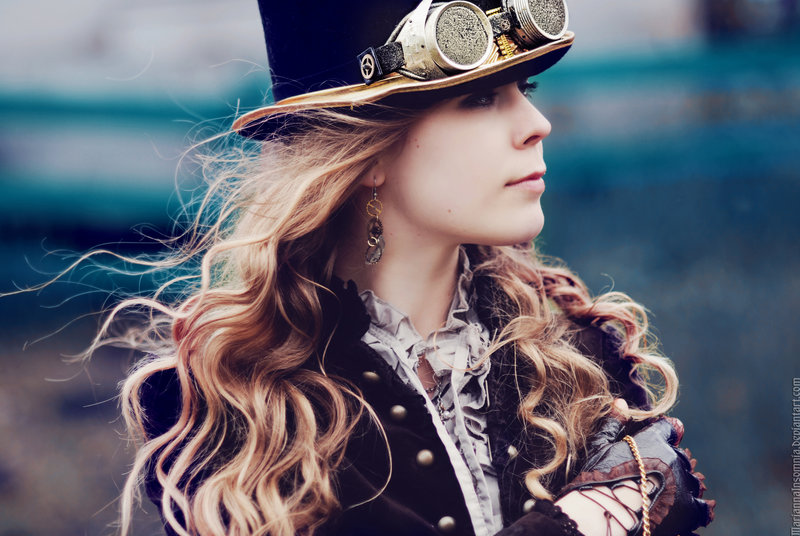 woman wearing steampunk hat